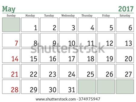 Simple digital calendar for May 2017. Vector printable calendar. Monthly scheduler. Week starts on Sunday. English calendar - stock vector