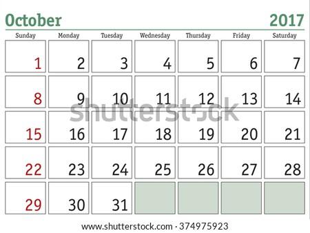Simple digital calendar for October 2017. Vector printable calendar. Monthly scheduler. Week starts on Sunday. English calendar - stock vector