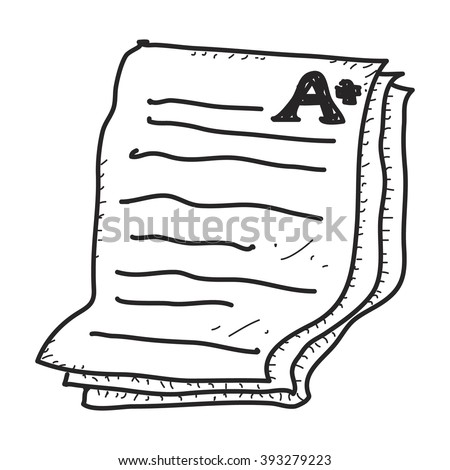 Simple doodle of a hand drawn exam paper showing an A plus - stock vector