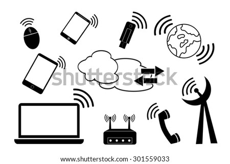 simple doodle Telecommunication Signal   - stock vector