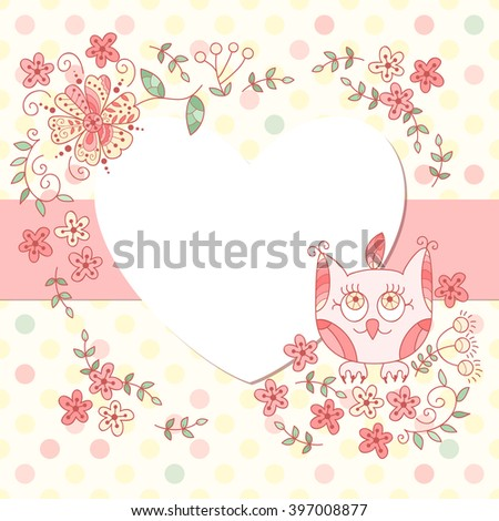 Simple dotted heart photo frame. Cute scrapbook page. Baby shower card. Cute vector owl photo frame. - stock vector