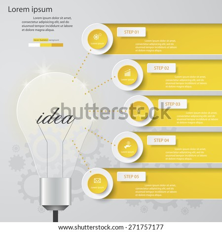 Simple&Editable 5 Steps chart and light bulb shape diagrams template/graphic or website layout. Vector. - stock vector