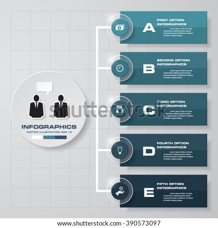Simple&Editable 5 Steps chart diagrams template/graphic or website layout. Vector. - stock vector