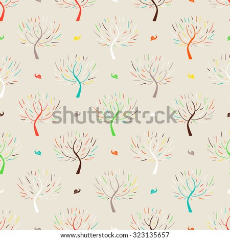 Simple elegant hand drawn pattern with three silhouettes and snails in multiple colors for fall winter fashion or digital scrapbook paper. Chic, natural retro style print with woods and bare branches  - stock vector