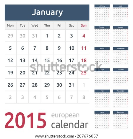 Simple european calendar grid for 2015 year. Clean and neat. Only plain colors - easy to recolor. - stock vector