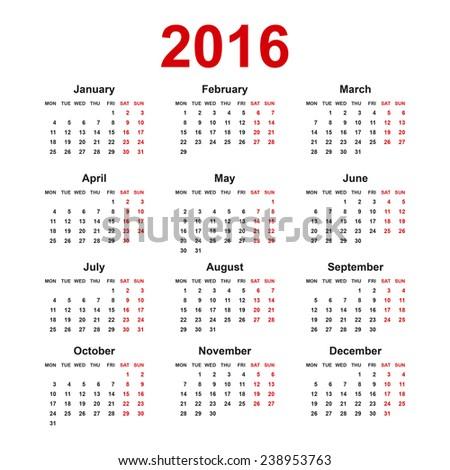 european 2016 year blank calendar with holiday mark for calendar ...