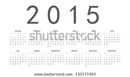 Simple european 2015 year vector calendar - stock vector