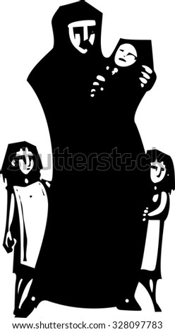 Simple expressionistic woodcut styled image of a mother in hijab hugging an infant with children. - stock vector