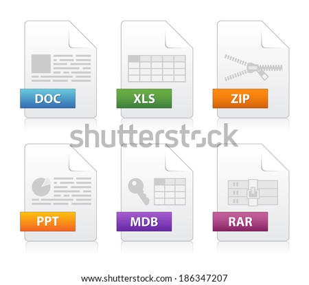 Simple file labels icon set - stock vector