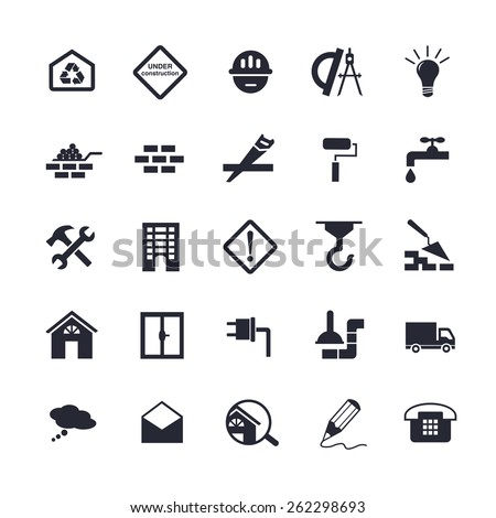Simple flat building icons for web. Vector illustration - stock vector