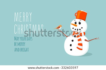 Simple flat Christmas card with a cute snowman with scarf in vector - stock vector