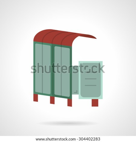 Simple flat color vector icon for bus station with ad citylight. Outdoors advertising construction. Design element for business, logo and website - stock vector