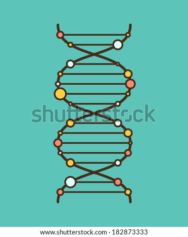 Simple flat graphic DNA spiral. EPS8 vector illustration, - stock vector