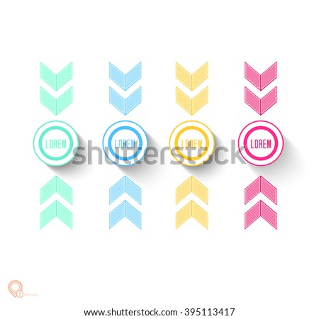 Simple Flat Rounds List Menu Elements Design Template for Your Titles - stock vector