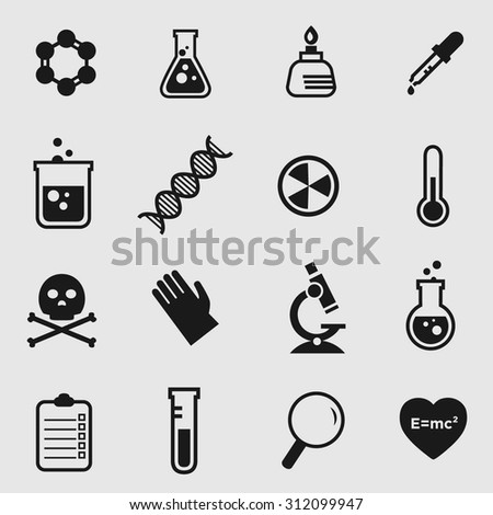 Simple flat vector science and chemistry icons  - stock vector
