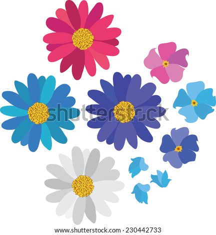 Simple flower daisy collection isolated on white for design - stock vector