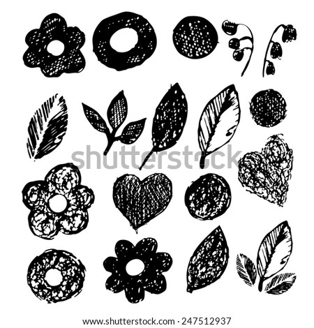 simple Flowers and leaves pen. Vector - stock vector