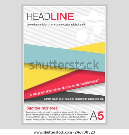 Simple flyer template. Brochure with color ribbons.  - stock vector