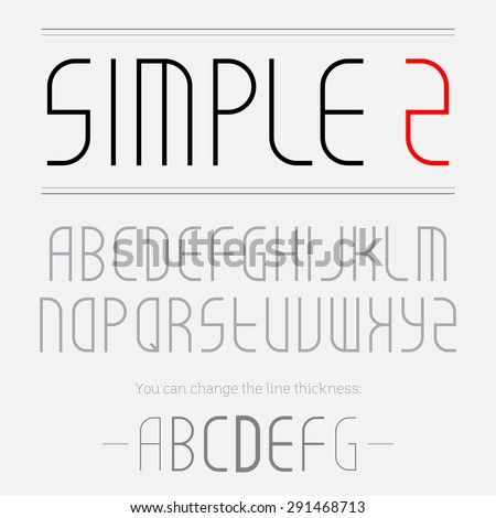 Simple font made of thin lines, you can change the line thickness. Uppercase Alphabet letters for monograms or company logo. - stock vector