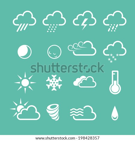 Simple forecast  weather icons - sunny, foggy and snowy clouds - stock vector