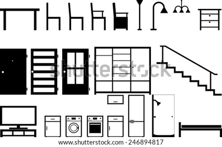 simple furniture icons - stock vector
