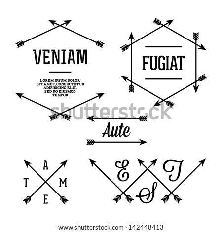 simple geometric label with arrows - stock vector