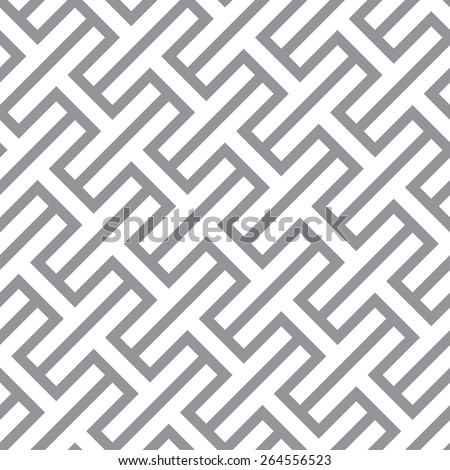 Simple geometric vector seamless monochrome pattern - gray figures design Eps8 - stock vector