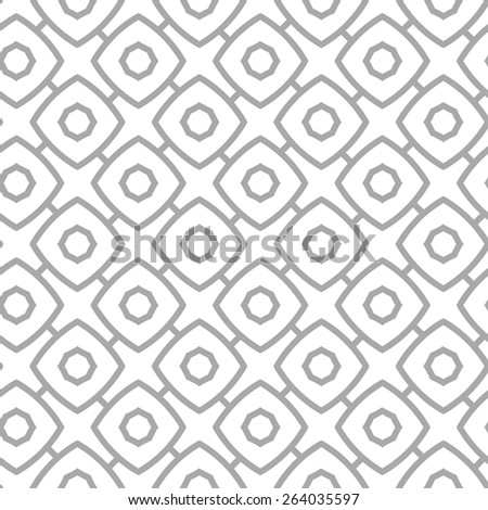 Simple geometric vector seamless pattern - gray contour figures on white background. Eps8 - stock vector
