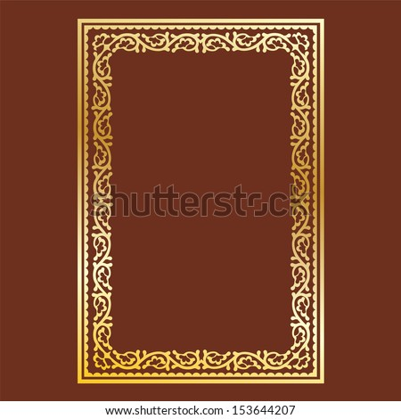 simple gold frame on brown background, curls and waves - stock vector