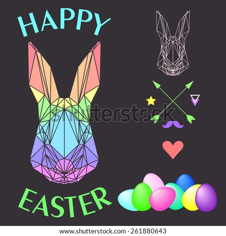 simple graphic illustration with abstract geometric rainbow colored polygonal rabbit and bright eggs isolated on dark background for use in design for easter card, invitation, placard or banner - stock vector