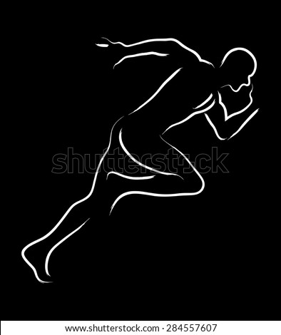 Simple graphic of a male figure off to a fast start - stock vector