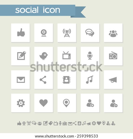 Simple gray computer icons - stock vector