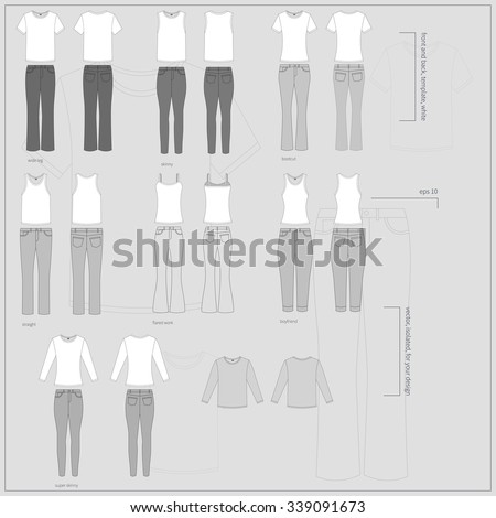 Simple gray vector illustration. Big set of different white T-shirts in front and back views with basic types of women`s jeans. - stock vector