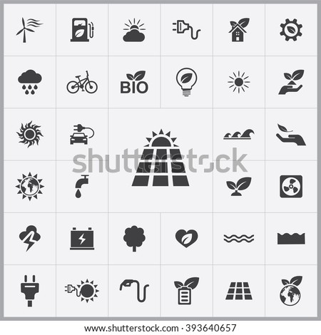 Simple green energy icons set. Universal green energy icons to use for web and mobile UI, set of basic green energy elements - stock vector