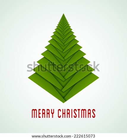 Simple green fold Christmas tree isolated on background - stock vector