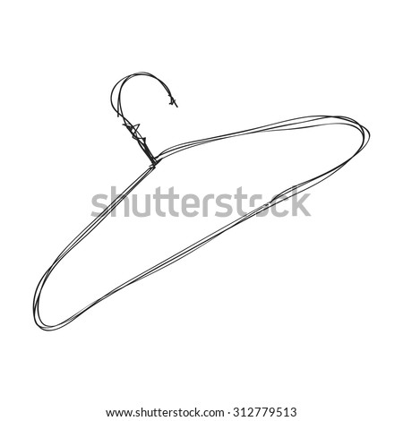 Simple hand drawn doodle of a coat hanger - stock vector