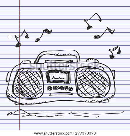 Simple hand drawn doodle of a stereo