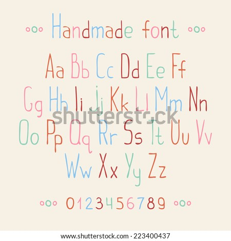 Simple hand drawn font. Complete abc alphabet set. Vector letters and numbers. Doodle typographic symbols. - stock vector