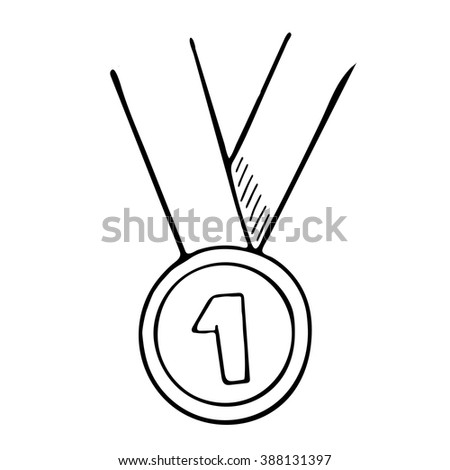 Simple hand drawn. Vector doodle of a medal - stock vector