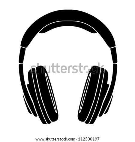 Simple Headphones in Silhouette, vector - stock vector