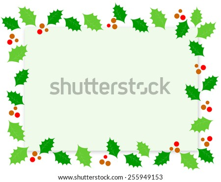 Simple holly and red berries christmas border / frame on white background - stock vector