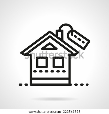 Simple house with label. Black line style vector icon. Symbols for rental or property, housing, mortgage. Web design elements. - stock vector
