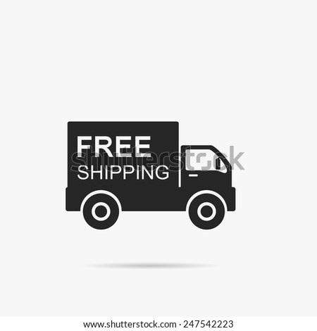 Simple icon car free of Delivery. - stock vector