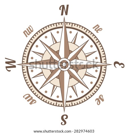 Simple icon of retro styled compass over white - stock vector