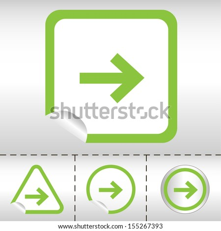 simple icon set of arrows on sticker button different forms in modern style. eps10 vector illustration  - stock vector