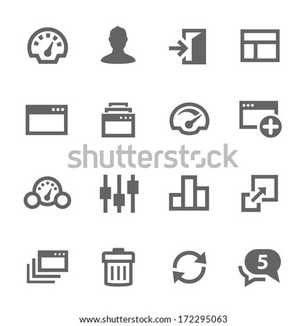 Simple icon set related to Dashboard. A set of sixteen symbols. - stock vector