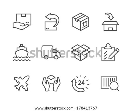 Simple icon set related to shipping and logistics for your design. - stock vector