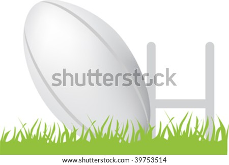 simple icon style illustration of rugby ball and posts - stock vector