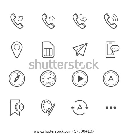 Simple Icons for Mobile Phone and Application - stock vector