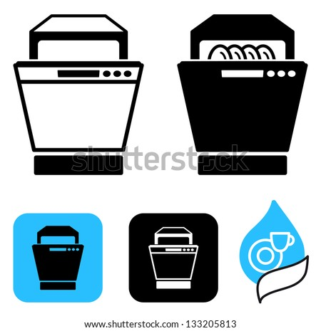 Simple icons of the dishwasher - stock vector